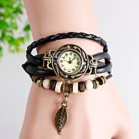 Женские часы браслет с листочком черные