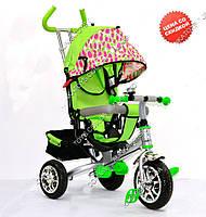 Велосипед трехколесный детский Super Trike VT1418 зелено-розовый пенные колеса