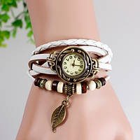 Женские часы браслет с листочком белые