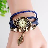 Женские часы браслет с листочком синие