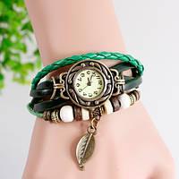 Женские часы браслет с листочком зеленые