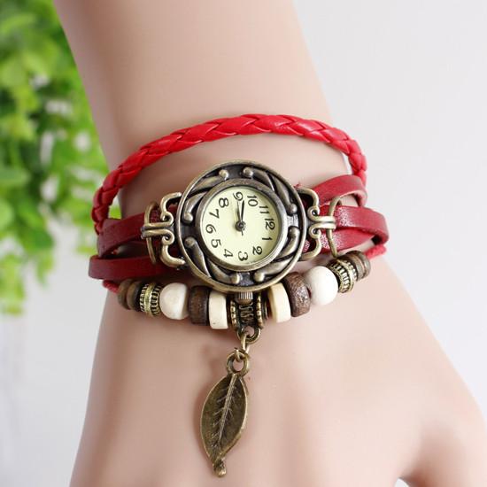 Жіночі годинники браслет з листочком вишні