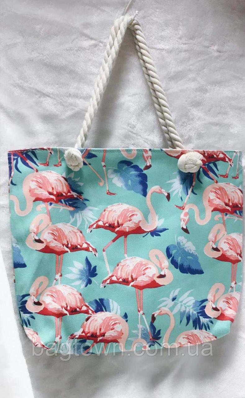 130db3eb37db Пляжная сумка текстиль Фламинго (ручки-канаты) - Bagtown в Одессе
