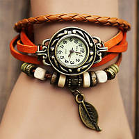 Женские часы браслет с листочком оранжевые