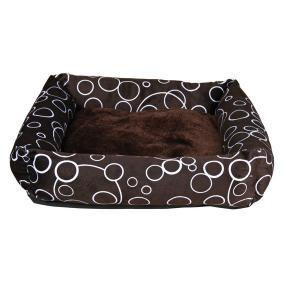 "Trixie Лежак для собаки ""Marino"" 46х46см, коричневый/беж, кружочки."