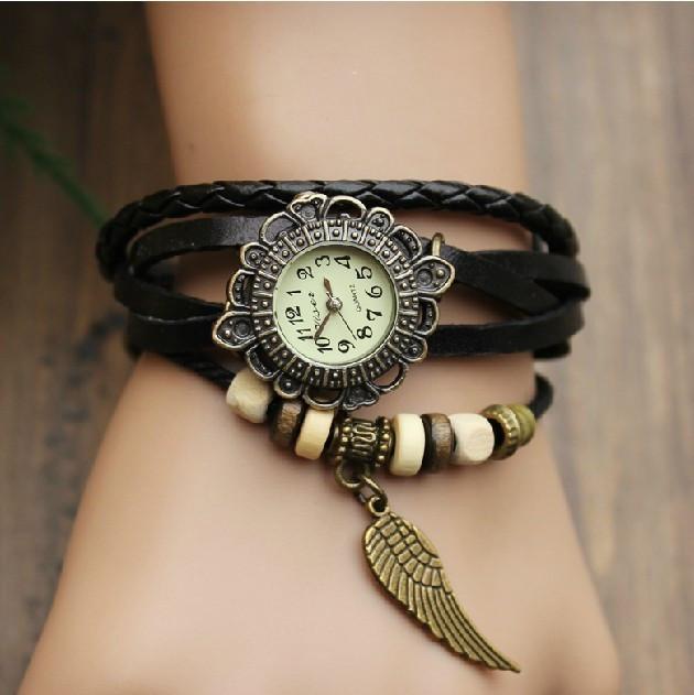 Женские часы браслет черные перо