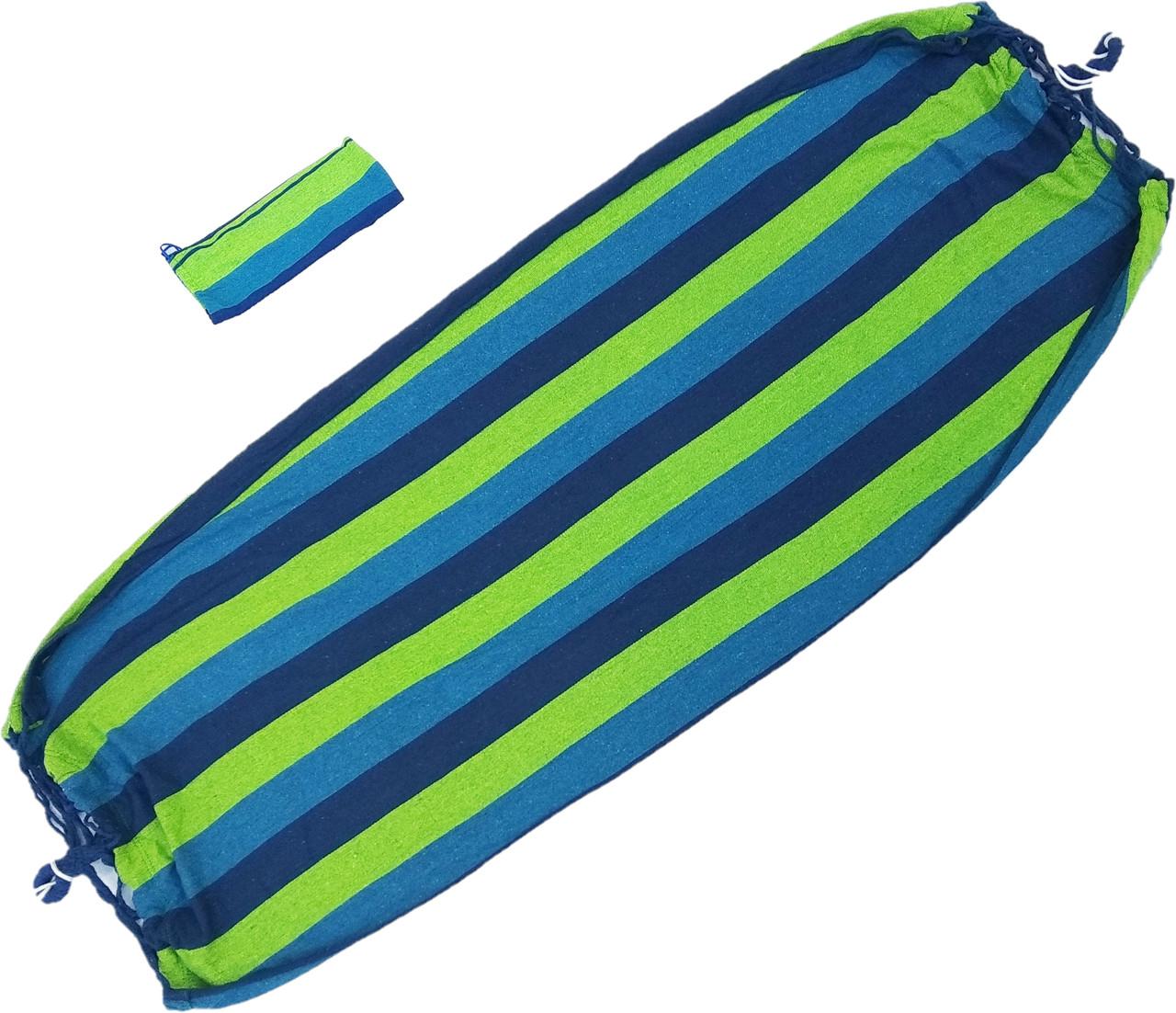 Гамак мексиканский ткань х/б с креплениями и рюкзачком 200*80см 208 Н Сине зеленая полоска, фото 1