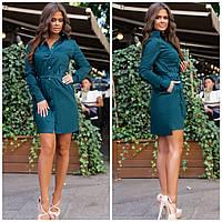 Класическое платье рубашка на пуговицах с поясом и карманами зелёное 42 44 46 48, фото 1
