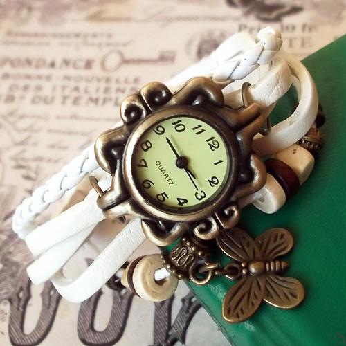 Жіночі годинники браслет з метеликом білі