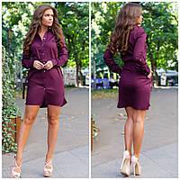Класическое платье рубашка на пуговицах с поясом и карманами марсала 42 44 46 48, фото 1