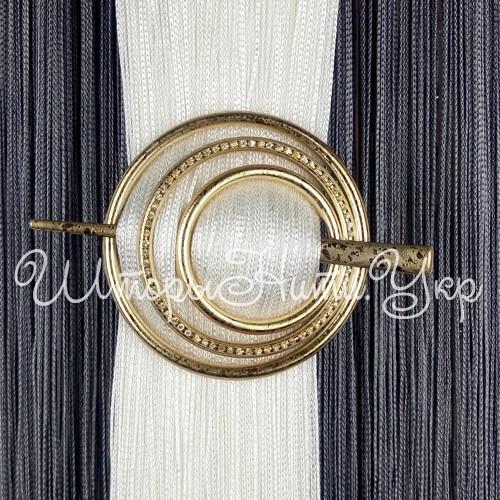 Заколка для штор нитей Круг Элит №1А Золото капелька
