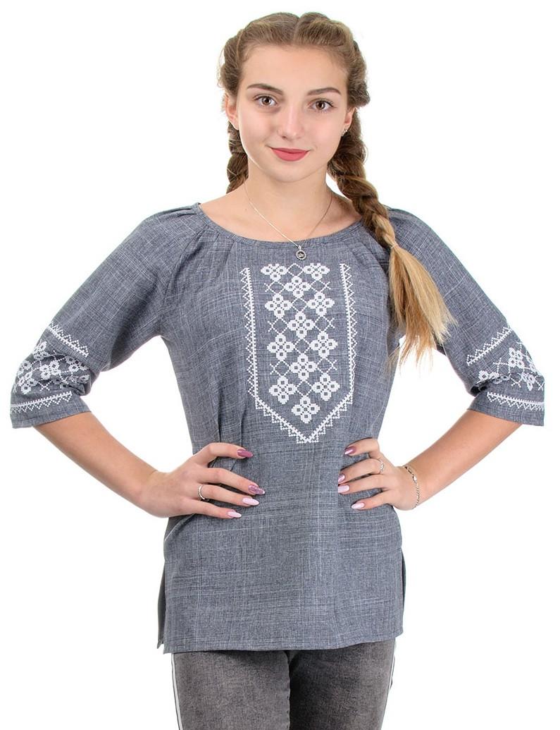 Льняная вышиванка женская современная блузка, лен габардин серая