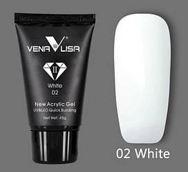 Акрил-гель VENALISA №02 UV/LED 45 г, white