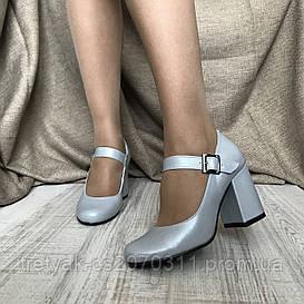 Туфли женские на широком каблуке серо голубого цвета