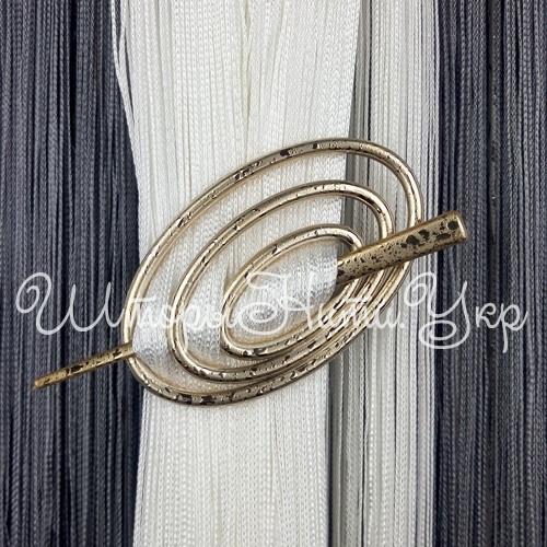 Заколка для штор нитей Овал №1А Золото / Капелька