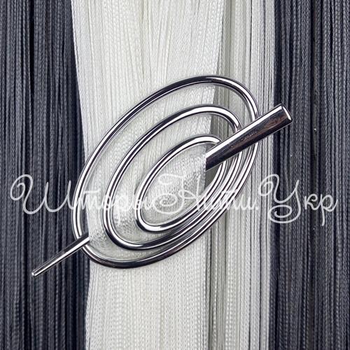 Заколка для штор нитей Овал №2 Серебро Глянец (хром)