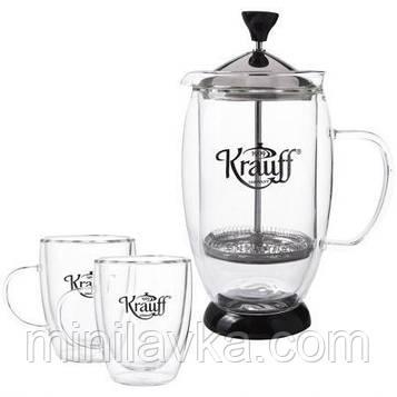 Набір для чаю Krauff 26-177-025 3 предмета френч-прес 600 мл і дві чашки по 150 мл (подвійна стінка)