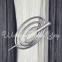 Заколка для штор нитей Овал №2А Серебро / Капелька