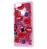 Чехол-накладка (Жидкий Блеск) Lips для Huawei Honor 7X Pink