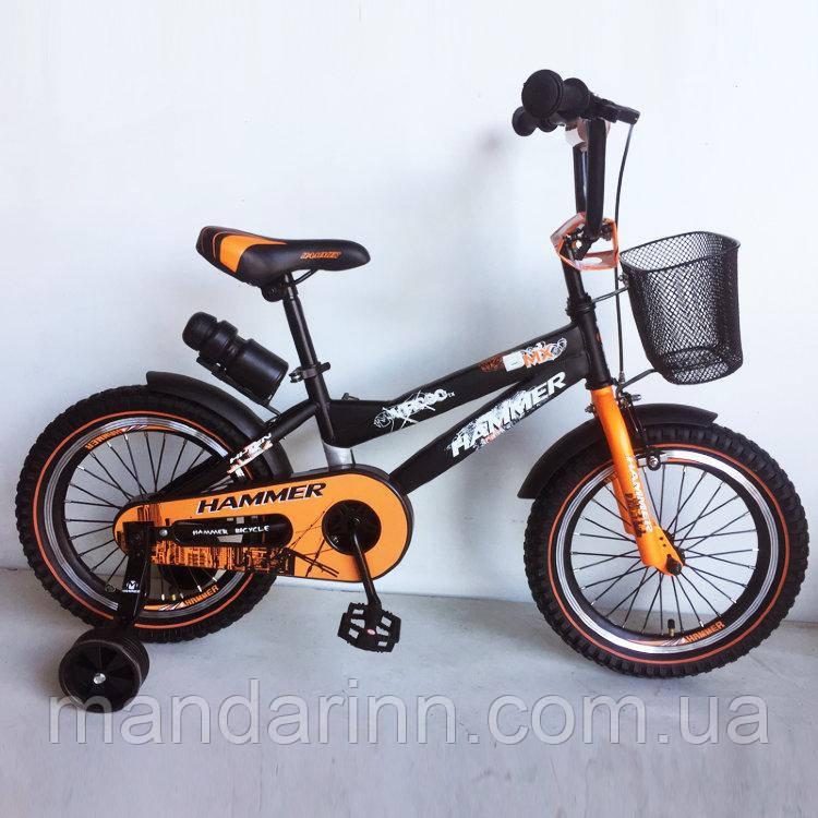 """Детский велосипед """"HAMMER-16"""" S600 16д.Черно-оранжевый"""