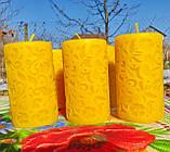 """Восковая свеча """"Средняя с васильками"""" из натурального пчелиного воска, фото 5"""