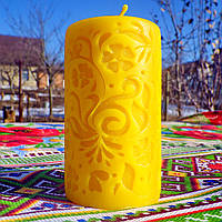 """Воскова свічка """"Середня з волошками"""" з бджолиного воску; Восковая свеча """"Средняя с васильками"""" пчелиный воск"""
