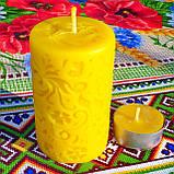 """Восковая свеча """"Средняя с васильками"""" из натурального пчелиного воска, фото 3"""