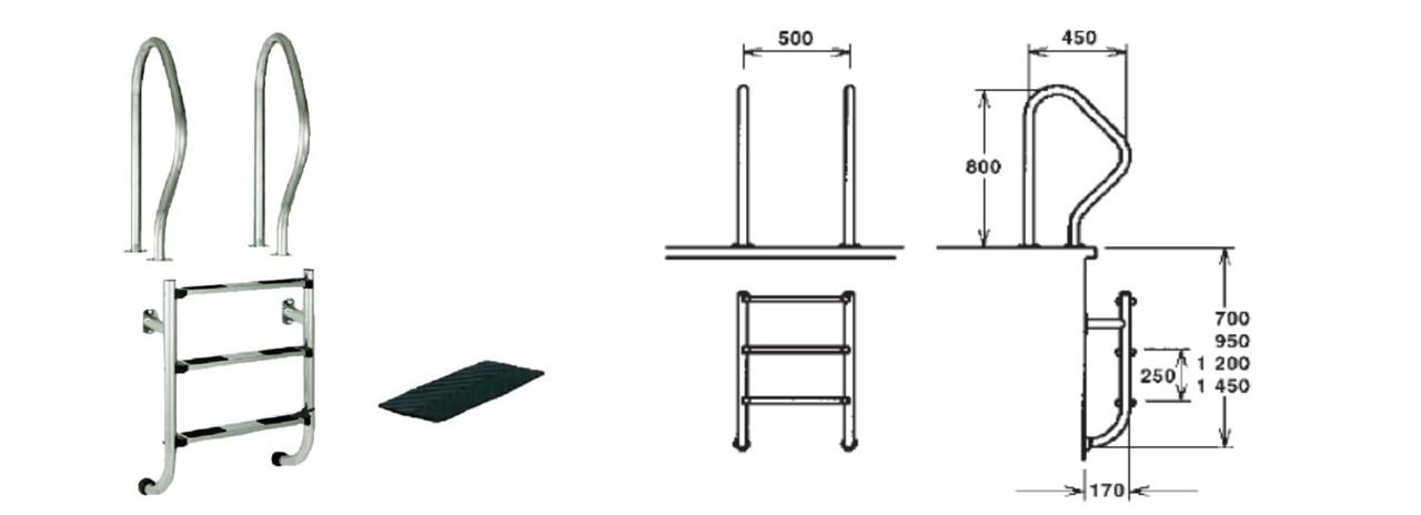 Сходи De Luxe, 3 ступені (роздільне кріплення поручнів і ступенів)