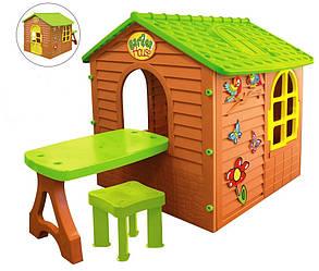 Детский игровой домик со столом и стулом Mochtoys 04