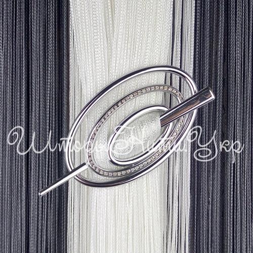 Заколка для штор нитей Овал Элит №2 Серебро Глянец (хром)