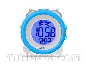 Электронный будильник GOTIE GBE-200N LED голубой с механическим звонком