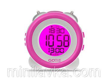 Электронный будильник GOTIE GBE-200F LED фиолетовый с механическим звонком