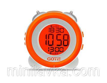 Электронный будильник GOTIE GBE-200P LED оранжевый с механическим звонком
