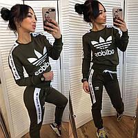 Женский турецкий спортивный костюм adidas штаны кофта хаки S M L XL XXL, фото 1