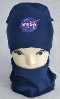 """Комплет шапка+баф """"NASA"""" одинарный 3-8 лет, разные цвета"""
