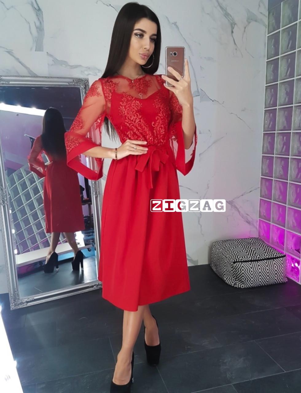 Женское стильное платье - миди  ВП1197