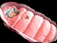 "Конверт пуховик INFLATED-А Lux (Розовый+фланель), болонь, шарики ""Fluffy balls"", фото 1"