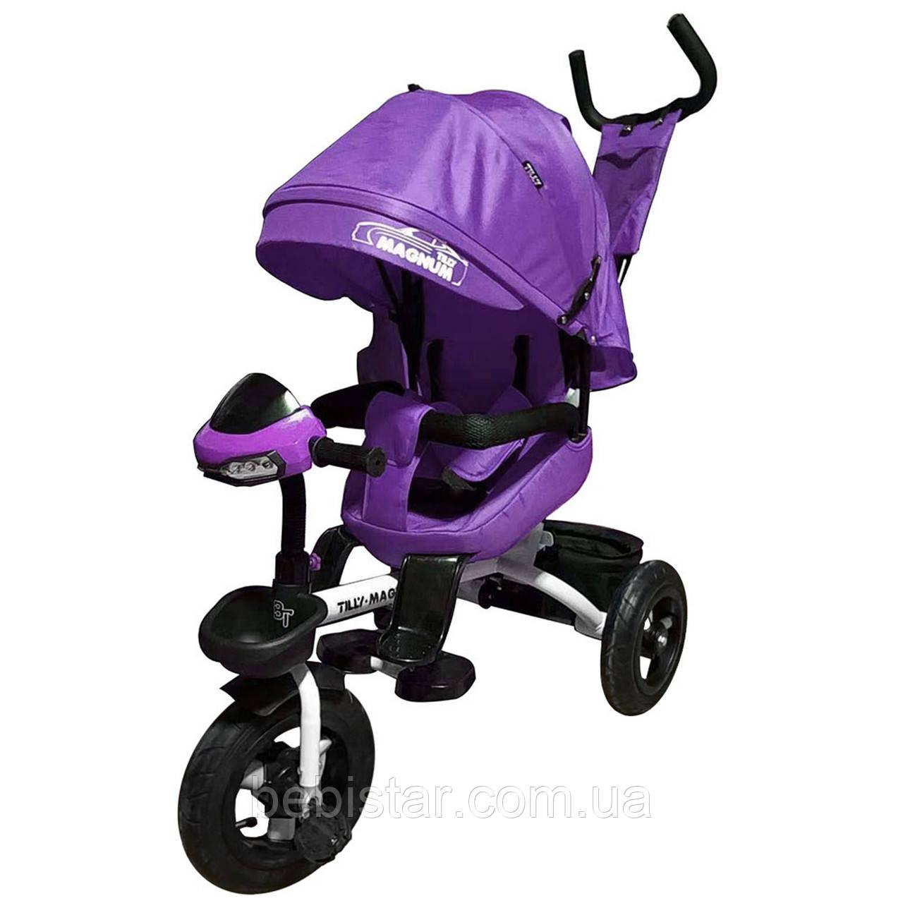 Детский трехколесный велосипед музыка свет поворот сидения TILLY MAGNUM T-382 Фиолетовый надувные колеса