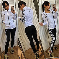 Женский турецкий спортивный костюм тройка adidas штаны кофта футболка чёрный с белым S M L XL XXL, фото 1