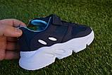 Дитячі кросівки сітка Adidas Yeezy Boost Blue Адідас ізі буст темно сині , копія, фото 4