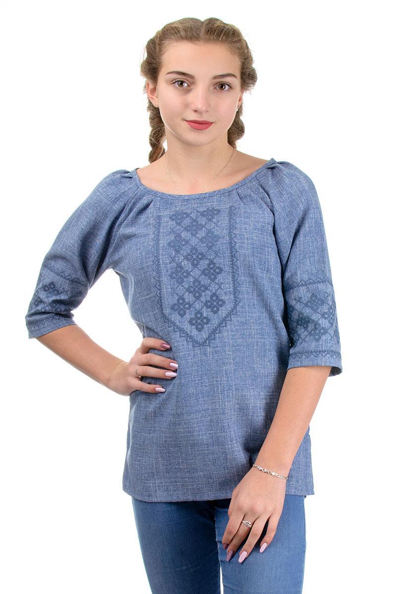 Льняная вышиванка женская современная блузка, лен габардин цвет джинс