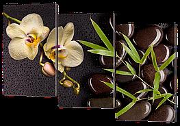 Модульная картина Interno Эко кожа Орхидея бамбук камни 104х74см (А694M)