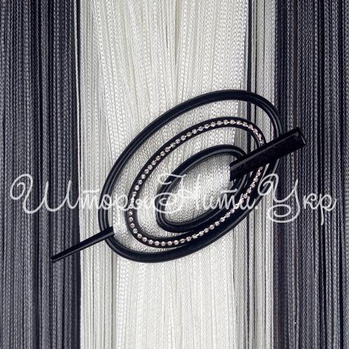 Заколка для штор нитей Овал Элит №12А Чёрный