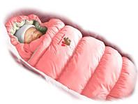 Детский конверт трансформер, пуховик Дутик - Inflated Pink Lux  ТМ Ontario Baby (Розовый+мех), фото 1