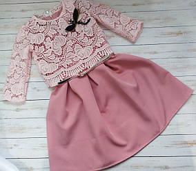 Красивое платье с кружевным жакетом и ремешком для девочки
