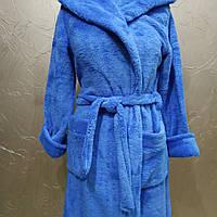 Халат велсофт короткий с капюшоном темно голубой