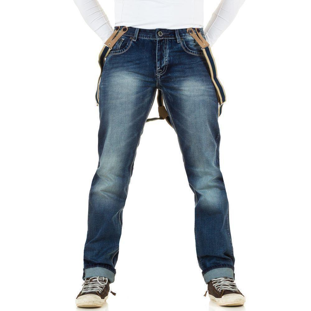 Джинсы мужские с подтяжками Original Ado (Франция), Синий
