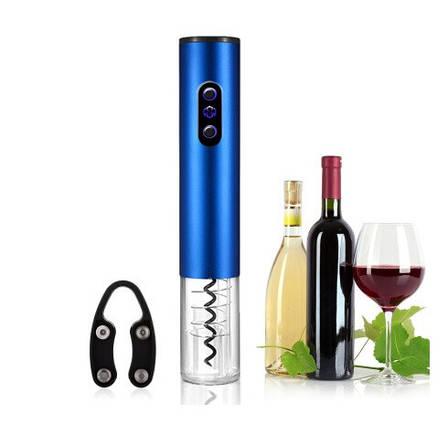 Электрический штопор на батарейках. Электроштопор для вина, синий, фото 2