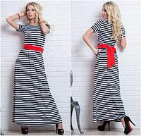 Платье длинное в полоску с красным поясом