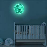 Луна флуоресцентная наклейка на стену 12см диаметр